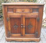 SOLD - Oak Standing Reproduction Low Corner Cupboard